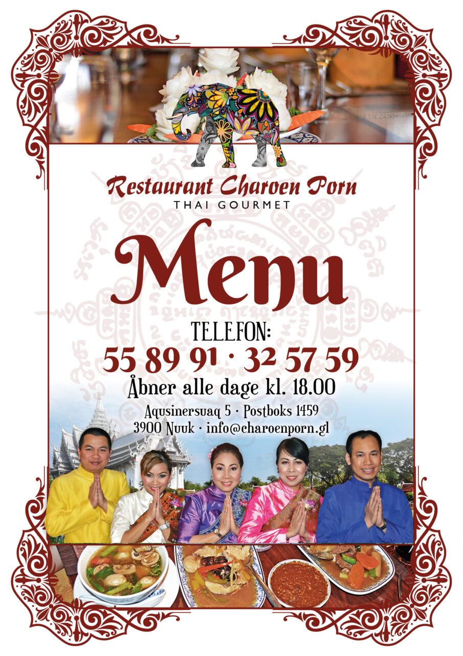 Restaurant Charoen Porn menukort