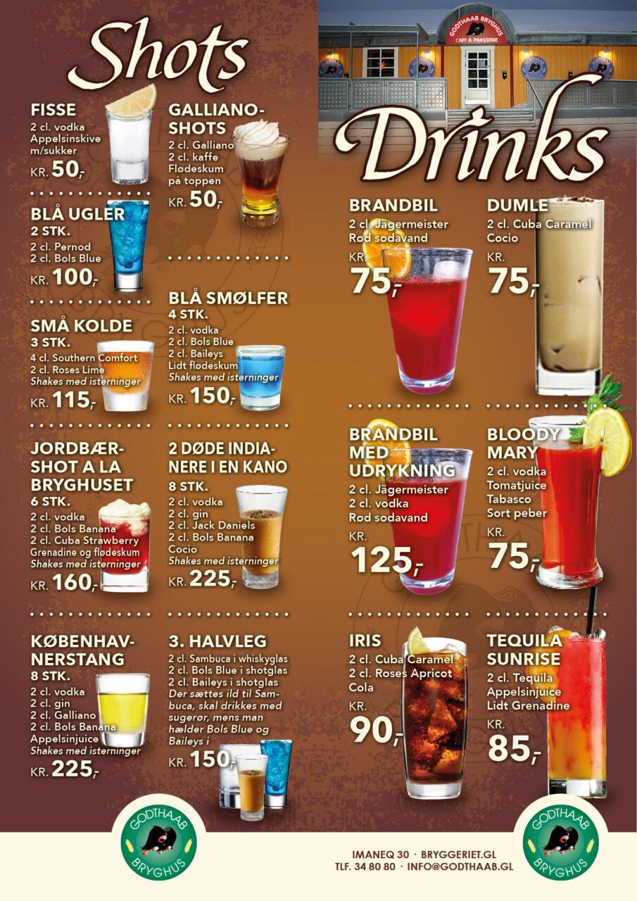 Godthaab Bryghus drinkskort
