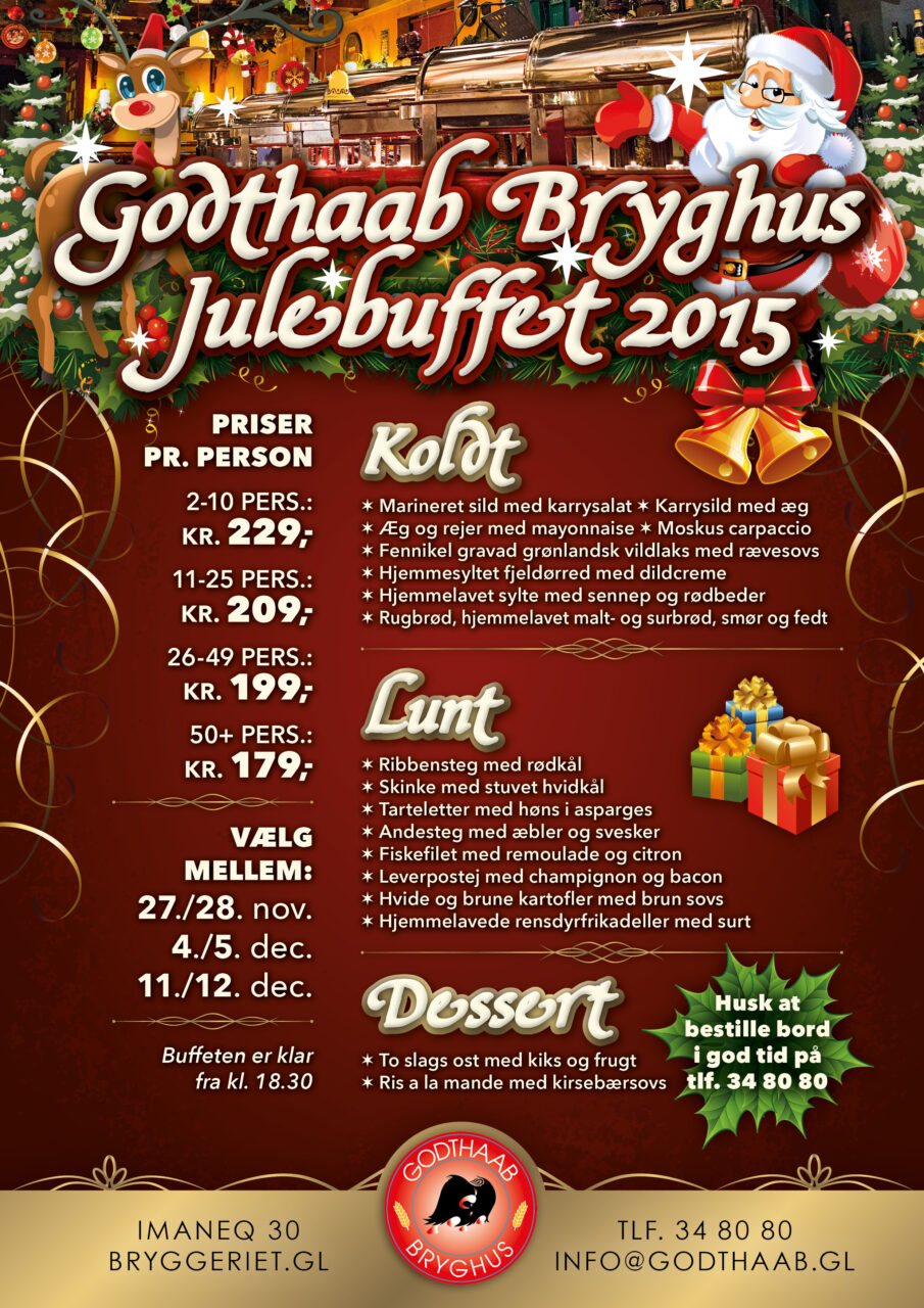 Godthaab Bryghus julebuffet plakat
