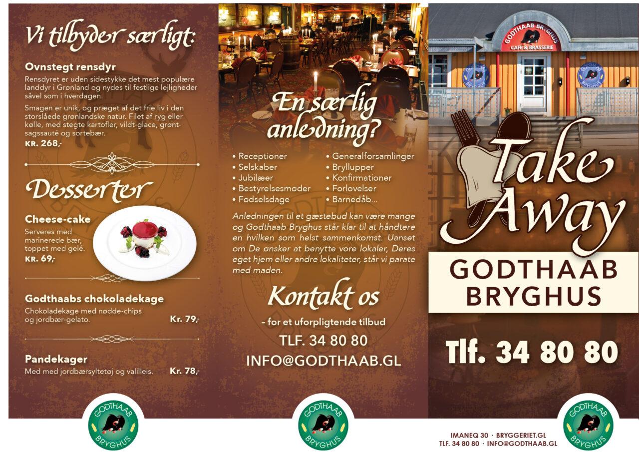 Godthaab Bryghus take-away menukort