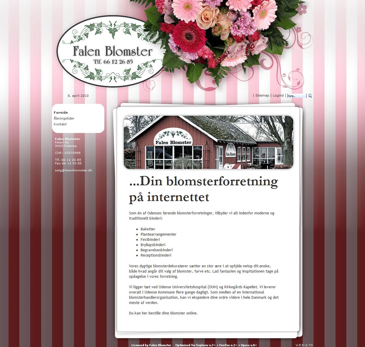Falen Blomster webdesign