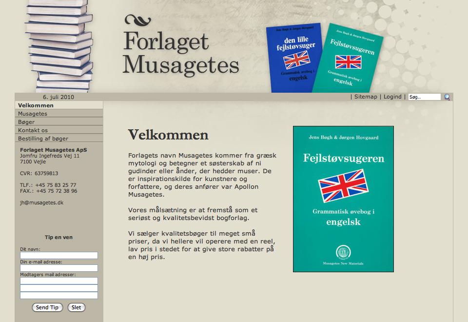 Forlaget Musagetes webdesign