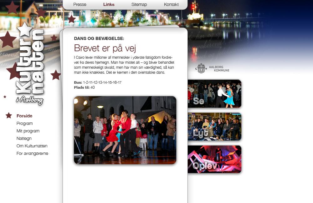 Kulturnatten i Aalborg webdesign
