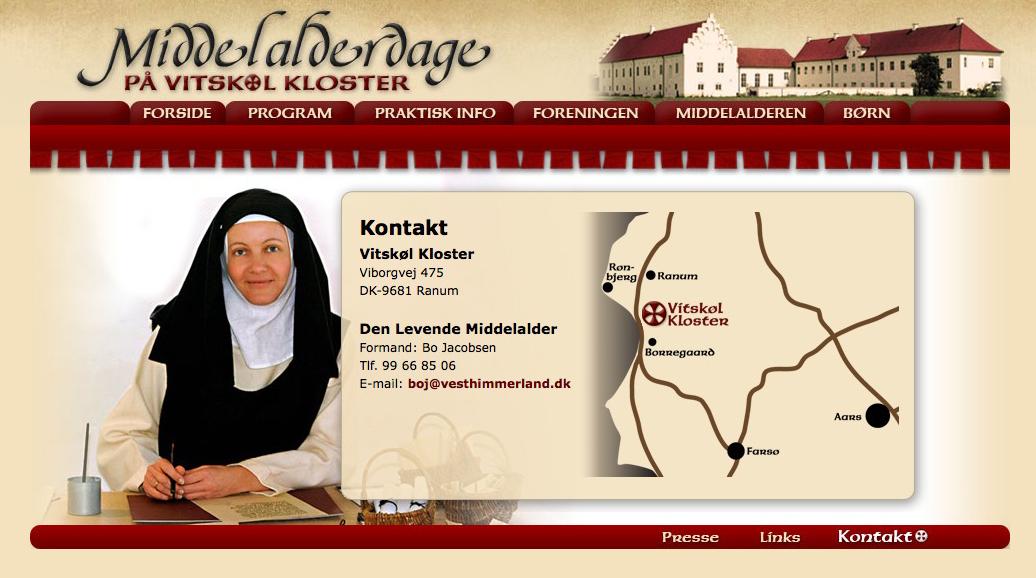 Middelalderdage på Vitskøl webdesign