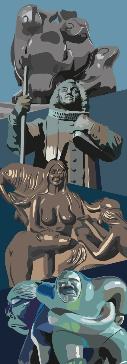 Kulukis dør-illustration statuer