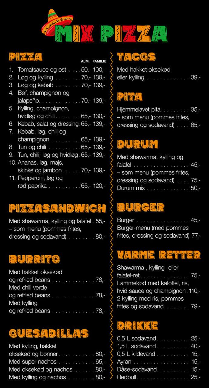 Mix Pizza menukort