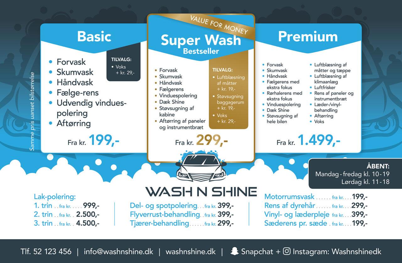 Wash n Shine skilt